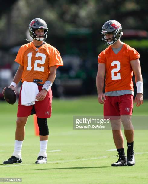 Tom Brady and Josh Rosen of the Tampa Bay Buccaneers interact during training camp at Raymond James Stadium on September 08, 2020 in Tampa, Florida.