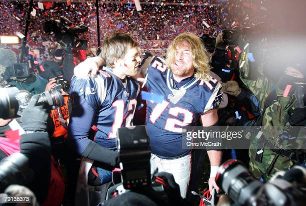 Tom Brady and Matt Light of the New England Patriots celebrate after the Patriots 21-12 win against the San Diego Chargers during the AFC...