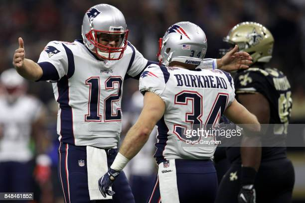 Tom Brady and Rex Burkhead of the New England Patriots react after a touchdown against the New Orleans Saints at the MercedesBenz Superdome on...