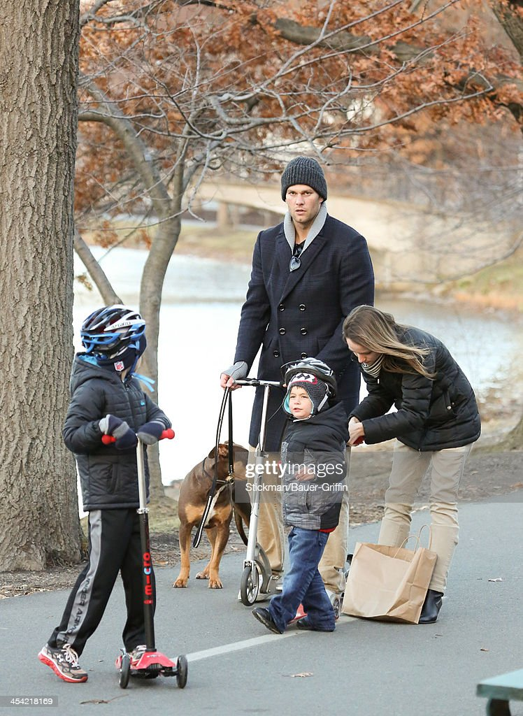 Tom Brady and sons John Moynahan and Benjamin Brady are seen