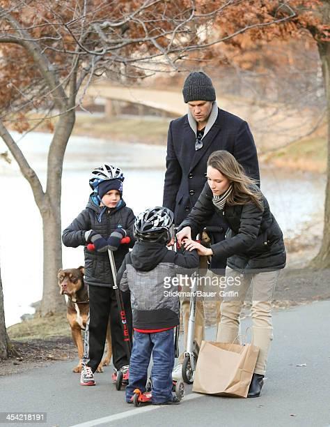 Tom Brady and sons John Moynahan and Benjamin Brady are seen on December 07 2013 in Boston Massachusetts