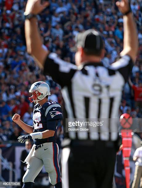 Tom Brady and the Patriots offense continues to steamroll the opposition this season, and here, after Patriots RB LaGarrette Blount went over the top...