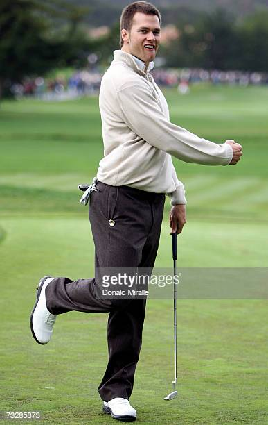 Tom Brady celebrates his birdie putt on the 2nd hole during the 3rd round of the ATT Pebble Beach National ProAm on February 10 2007 at the Pebble...