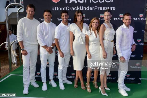 Tom Brady Dan Carter Daniel Ricciardo Paulina Vega Geri HalliwellHorner Bella Hadid and Cadel Evans attend the TAG Heuer event during the Formula 1...