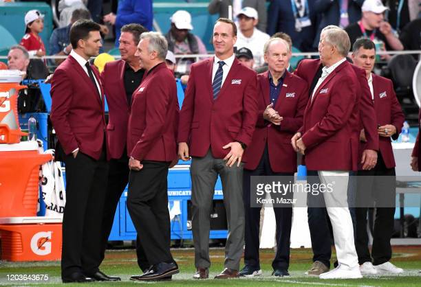Tom Brady Dan Marino Joe Montana Peyton Manning Roger Staubach and John Elway attend the Super Bowl LIV Pregame at Hard Rock Stadium on February 02...