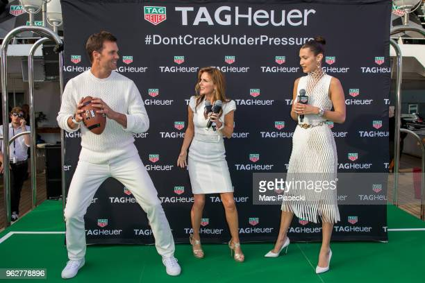 Tom Brady Geri Halliwell Horner and model Bella Hadid attend the TAG Heuer event during the Formula 1 Grand Prix de Monaco on May 26 2018 in Monaco...
