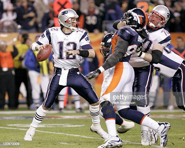Tom Brady gets time to throw as Logan Mankins blocks Courtney Brown. The Denver Broncos Beat the New England Patriots by a score of 27 to 13 at...