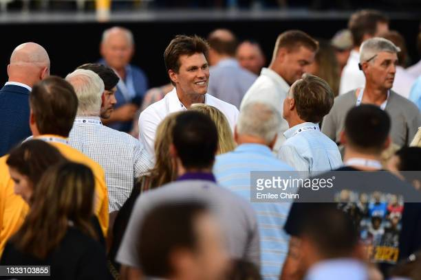 Tom Brady in attendance during the NFL Hall of Fame Enshrinement Ceremony at Tom Benson Hall Of Fame Stadium on August 08, 2021 in Canton, Ohio.