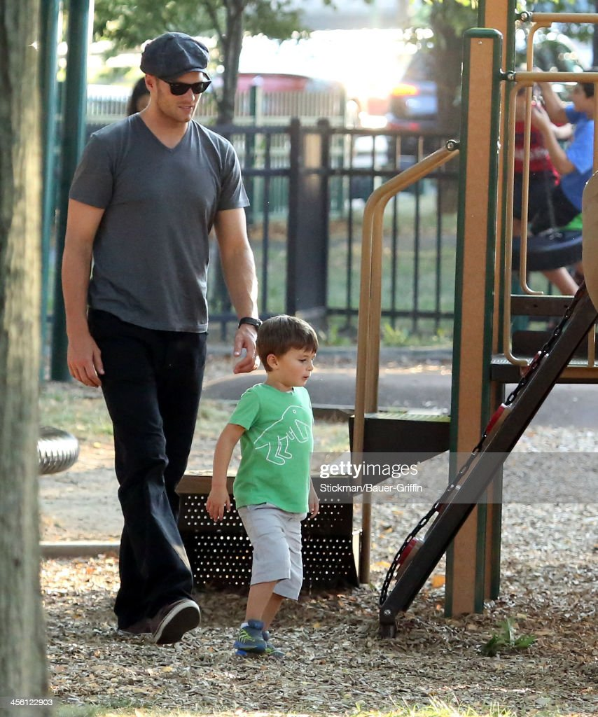 Tom Brady is seen playing with his son, Benjamin Brady on