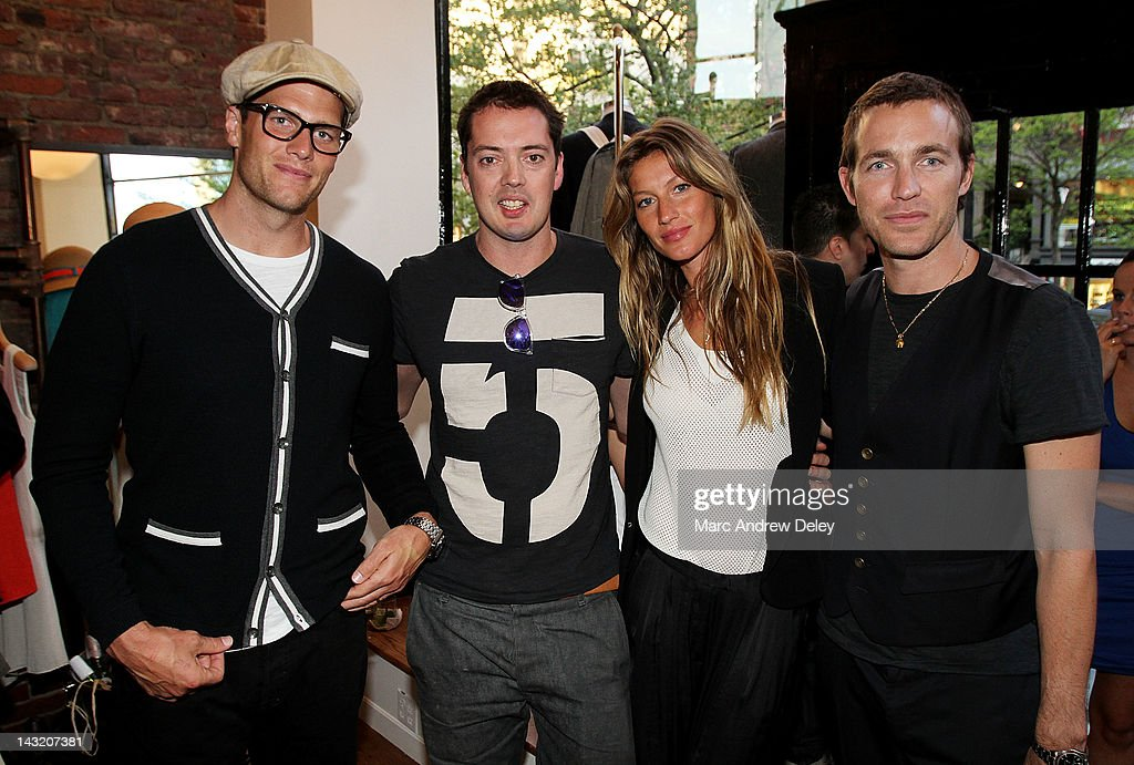 Tom Brady, Marcus Wainwright, designer and managing partner, Gisele Bundchen and David Neville, designer and managing partner attend the Rag & Bone Boston boutique opening on Newbury Street on April 20, 2012 in Boston, Massachusetts.