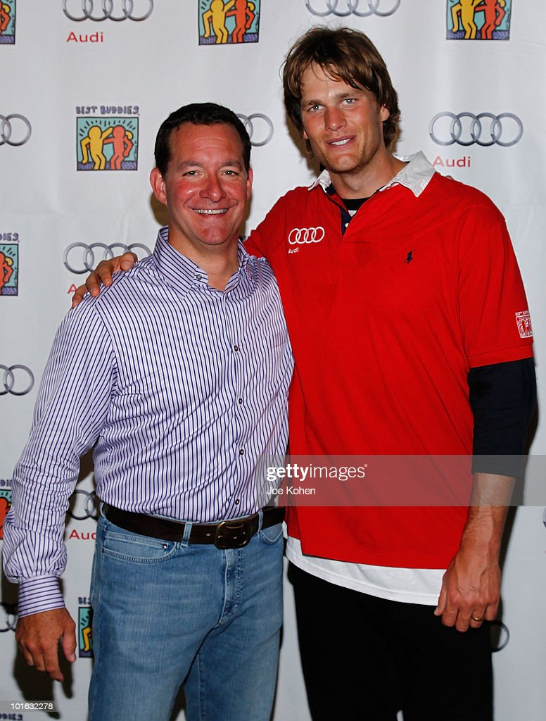 Tom Brady of New England Patriots (R) and Jeff Kuhlman Chief Communications Officer, Audi of America attend the Tom Brady's Flag football match kicking off the 2010 Audi Best Buddies Challenge: Hyannis Port on June 4, 2010 in Boston, Massachusetts.