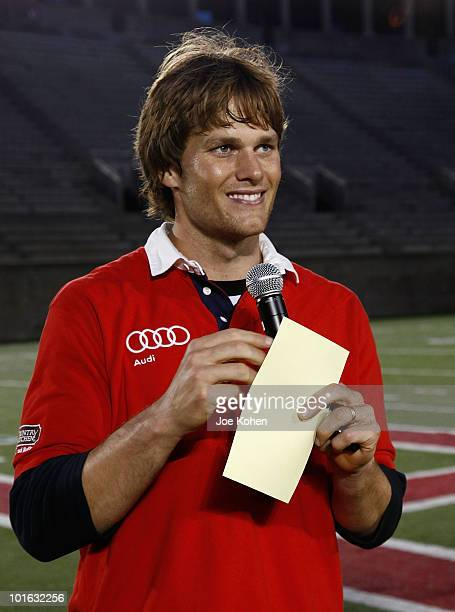 Tom Brady of New England Patriots attends the Tom Brady's Flag football match kicking off the 2010 Audi Best Buddies Challenge Hyannis Port on June 4...