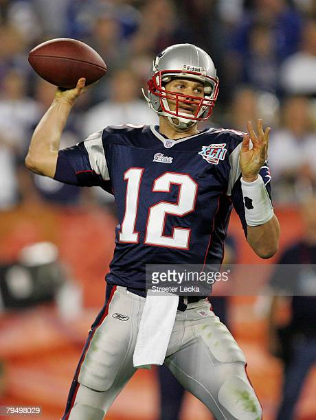 Tom Brady of of the New England Patriots passes in the fourth quarter of Super Bowl XLII against the New York Giants on February 3, 2008 at the...