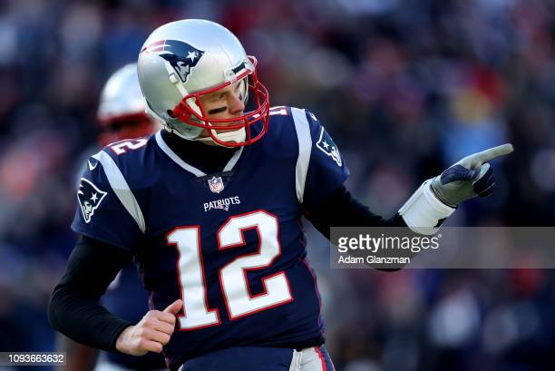 Tom Brady of the New England Patriot reacts during the second quarter in the AFC Divisional Playoff Game against the Los Angeles Chargers at Gillette...