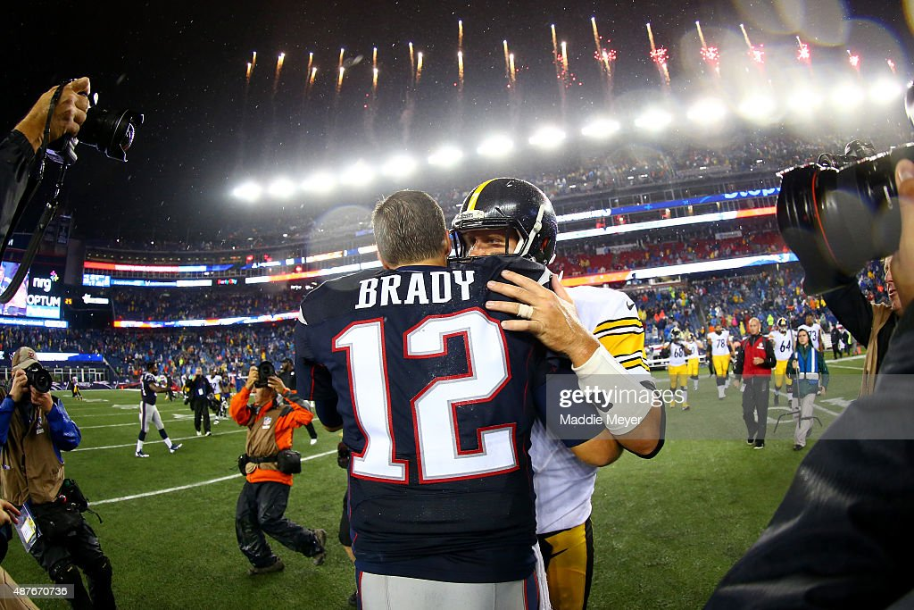Tom Brady #12 of the New England Patriots and Ben Roethlisberger #7 of the Pittsburgh Steelers embrace after the Patriots defeated the Steelers 28-21 at Gillette Stadium on September 10, 2015 in Foxboro, Massachusetts.