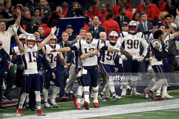 Tom Brady of the New England Patriots and teammates celebrate after winning the Super Bowl LIII at against the Los Angeles Rams MercedesBenz Stadium...