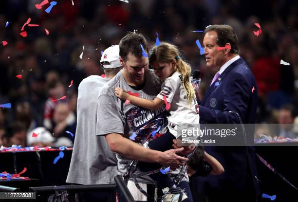 Tom Brady of the New England Patriots and Vivian Lake Brady celebrate the 133 win over Los Angeles Rams during Super Bowl LIII at MercedesBenz...