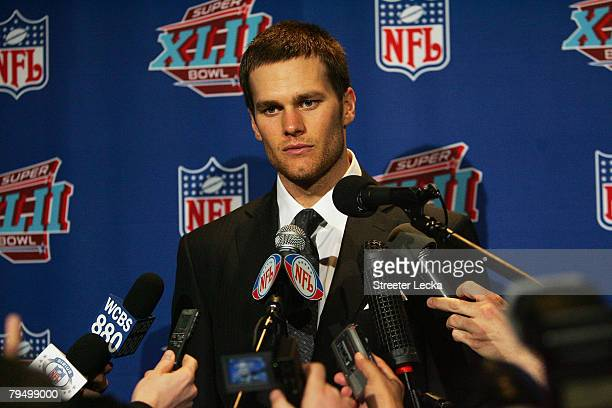 Tom Brady of the New England Patriots answers questions after losing to the New York Giants 1714 in Super Bowl XLII on February 3 2008 at the...