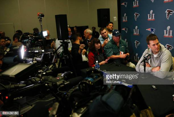 Tom Brady of the New England Patriots answers questions during Super Bowl LI media availability at the JW Marriott on February 1 2017 in Houston Texas