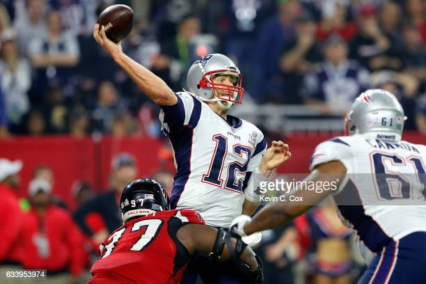 Tom Brady of the New England Patriots attempts a pass during the fourth quarter against the Atlanta Falcons during Super Bowl 51 at NRG Stadium on...