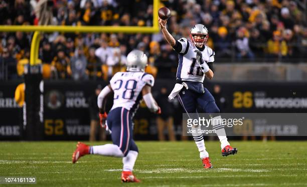 Tom Brady of the New England Patriots attempts a pass in the first quarter during the game against the Pittsburgh Steelers at Heinz Field on December...