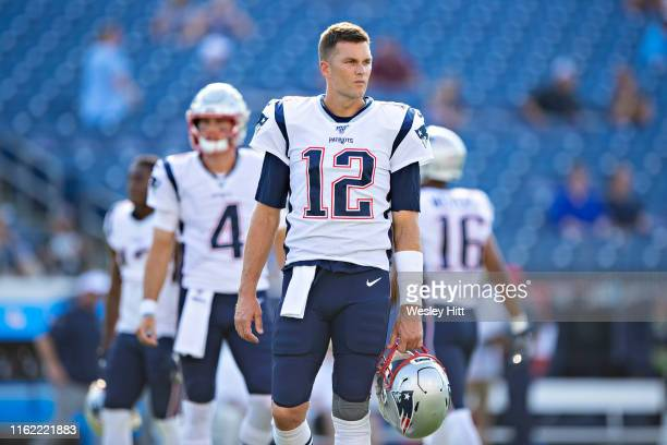 Tom Brady of the New England Patriots before a week two preseason game against the Tennessee Tttans at Nissan Stadium on August 17 2019 in Nashville...
