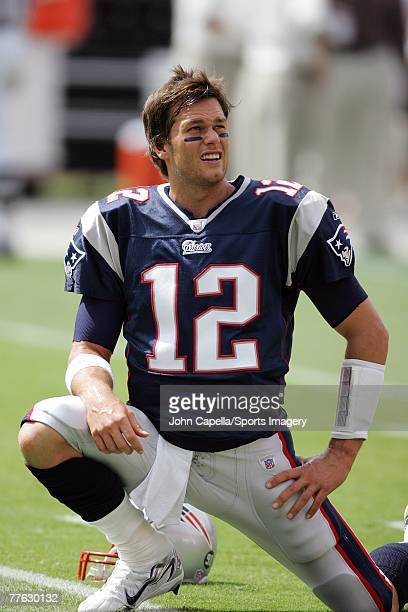 Tom Brady of the New England Patriots before the NFL game against the Miami Dolphins at Dolphin Stadium on October 21 2007 in Miami Florida