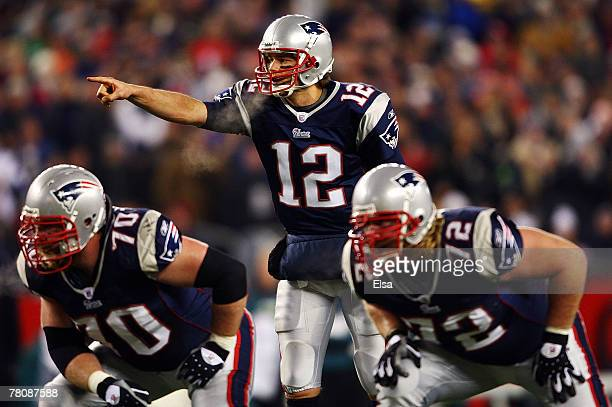 Tom Brady of the New England Patriots calls a play at the line against the Philadelphia Eagles at Gillette Stadium on November 25, 2007 in Foxboro,...