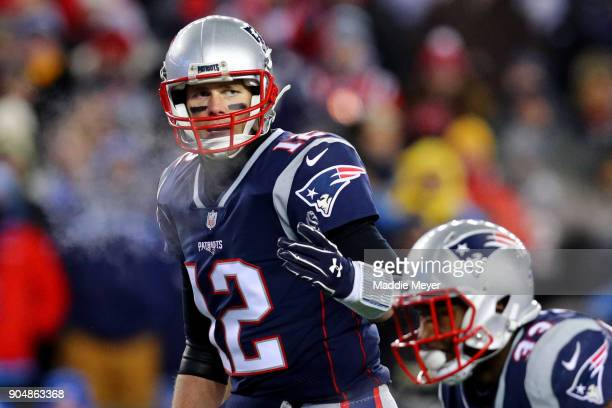Tom Brady of the New England Patriots calls a play during the AFC Divisional Playoff game against the Tennessee Titans at Gillette Stadium on January...