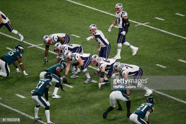 Tom Brady of the New England Patriots calls out the defense during the game against the Philadelphia Eagles in Super Bowl LII at US Bank Stadium on...