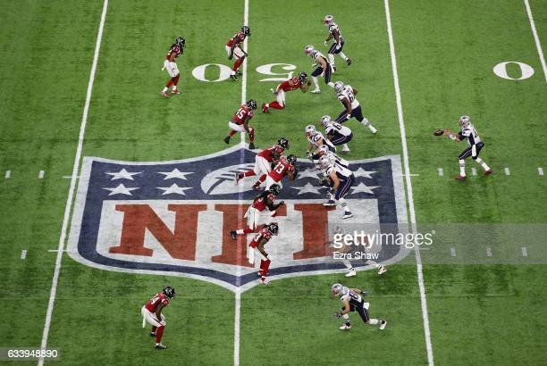 Tom Brady of the New England Patriots catches a snap during the second quarter of Super Bowl 51 against the Atlanta Falcons at NRG Stadium on...