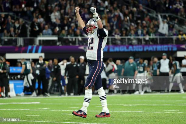 Tom Brady of the New England Patriots celebrates a touchdown in the second quarter against the Philadelphia Eagles in Super Bowl LII at US Bank...