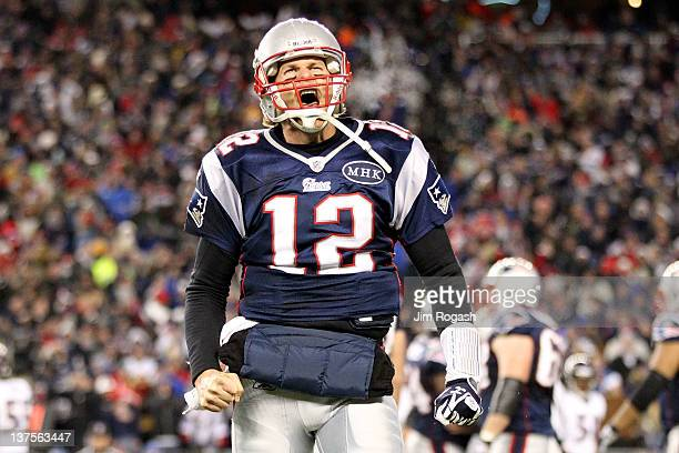 Tom Brady of the New England Patriots celebrates after a touchdown in the fourth quarter against the Baltimore Ravens during their AFC Championship...