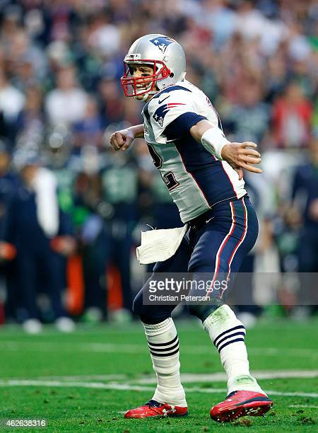 Tom Brady of the New England Patriots celebrates after a touchdown against the Seattle Seahawks in the second quarter during Super Bowl XLIX at...