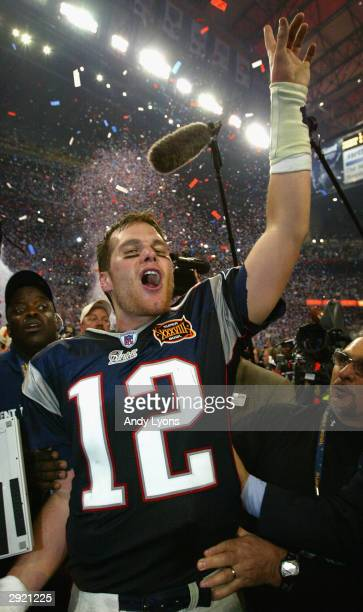 Tom Brady of the New England Patriots celebrates after defeating the Carolina Panthers 32-29 in Super Bowl XXXVIII at Reliant Stadium on February 1,...