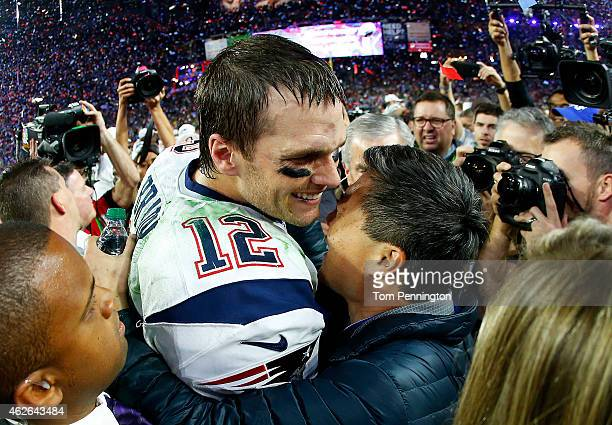 Tom Brady of the New England Patriots celebrates after defeating the Seattle Seahawks 2824 in Super Bowl XLIX at University of Phoenix Stadium on...