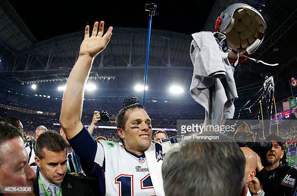 Tom Brady of the New England Patriots celebrates after defeating the Seattle Seahawks 28-24 to win Super Bowl XLIX at University of Phoenix Stadium...