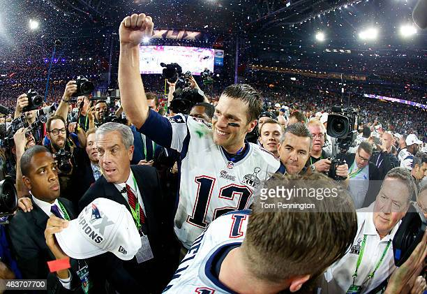 Tom Brady of the New England Patriots celebrates after defeating the Seattle Seahawks 2824 during Super Bowl XLIX at University of Phoenix Stadium on...