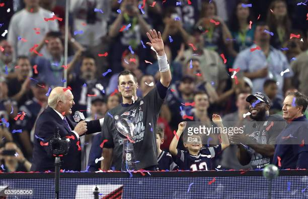 Tom Brady of the New England Patriots celebrates after defeating the Atlanta Falcons during Super Bowl 51 at NRG Stadium on February 5 2017 in...