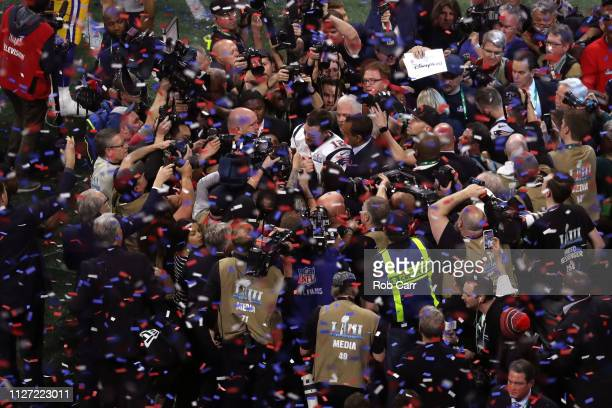Tom Brady of the New England Patriots celebrates after his teams 133 win over the Los Angeles Rams during Super Bowl LIII at MercedesBenz Stadium on...