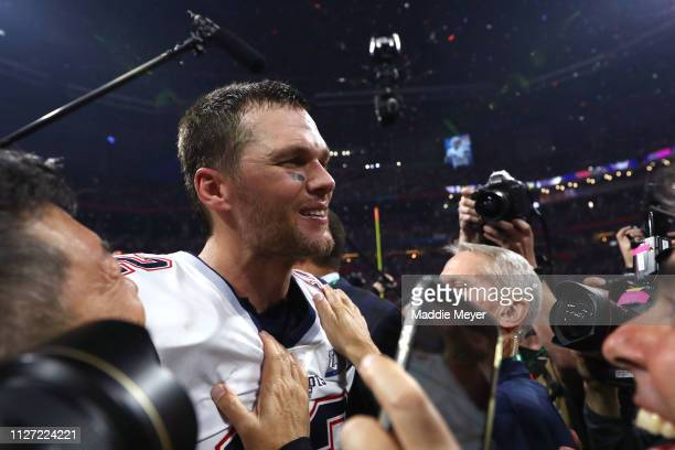 Tom Brady of the New England Patriots celebrates after his teams 133 win over the Los Angeles Rams in Super Bowl LIII at MercedesBenz Stadium on...