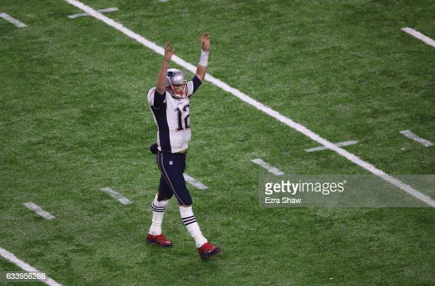 Tom Brady of the New England Patriots celebrates after James White scored a touchdown during over time of Super Bowl 51 at NRG Stadium on February 5...