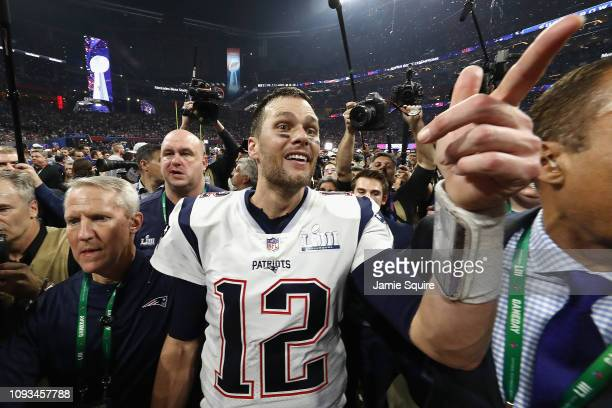 Tom Brady of the New England Patriots celebrates after the Patriots defeat the Los Angeles Rams 13-3 during Super Bowl LIII at Mercedes-Benz Stadium...