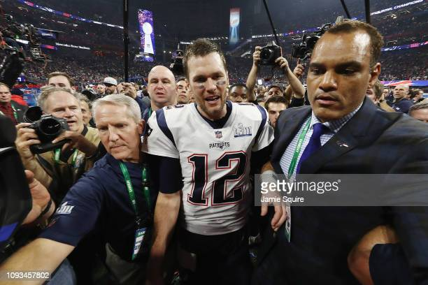 Tom Brady of the New England Patriots celebrates after the Patriots defeat the Los Angeles Rams 133 during Super Bowl LIII at MercedesBenz Stadium on...