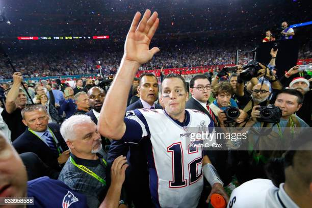 Tom Brady of the New England Patriots celebrates after the Patriots defeat the Atlanta Falcons 3428 in overtime of Super Bowl 51 at NRG Stadium on...