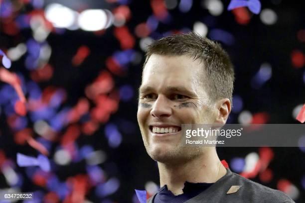 Tom Brady of the New England Patriots celebrates after the Patriots celebrates after the Patriots defeat the Atlanta Falcons 3428 during Super Bowl...