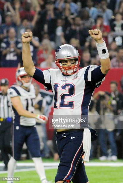 Tom Brady of the New England Patriots celebrates after they scored a touchdown against the Atlanta Falcons during Super Bowl 51 at NRG Stadium on...
