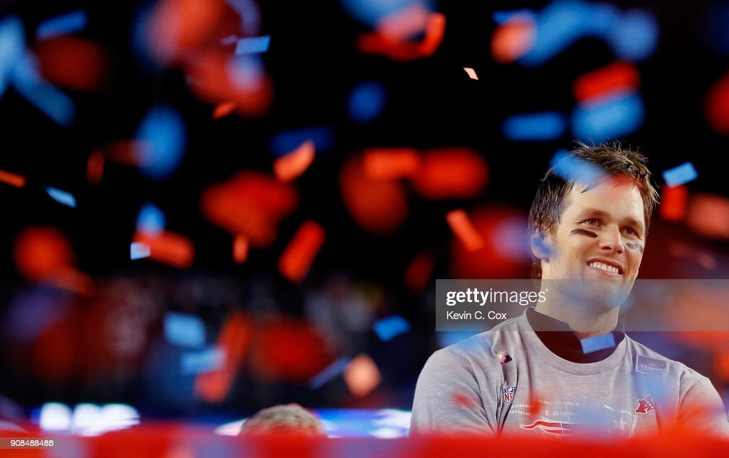 Tom Brady #12 of the New England Patriots celebrates after winning the AFC Championship Game against the Jacksonville Jaguars at Gillette Stadium on January 21, 2018 in Foxborough, Massachusetts.