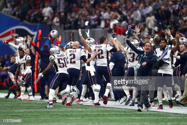Tom Brady of the New England Patriots celebrates teams 133 win over the Los Angeles Rams during Super Bowl LIII at MercedesBenz Stadium on February...