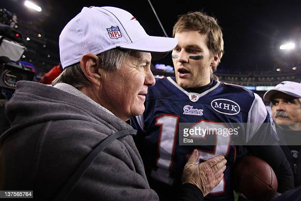 Tom Brady of the New England Patriots celebrates with head coach Bill Belichick of the New England Patriots after defeating the Baltimore Ravens in...